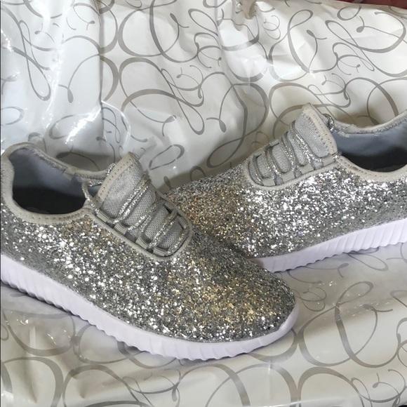 eda5aca29e Girls silver sparkle shoes
